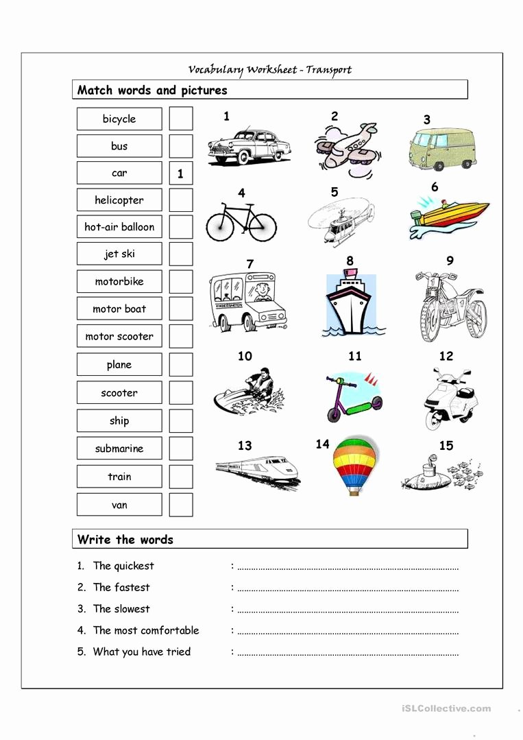 Transportation Worksheets for Preschoolers Beautiful English Esl Transportation Worksheets Most Ed 89