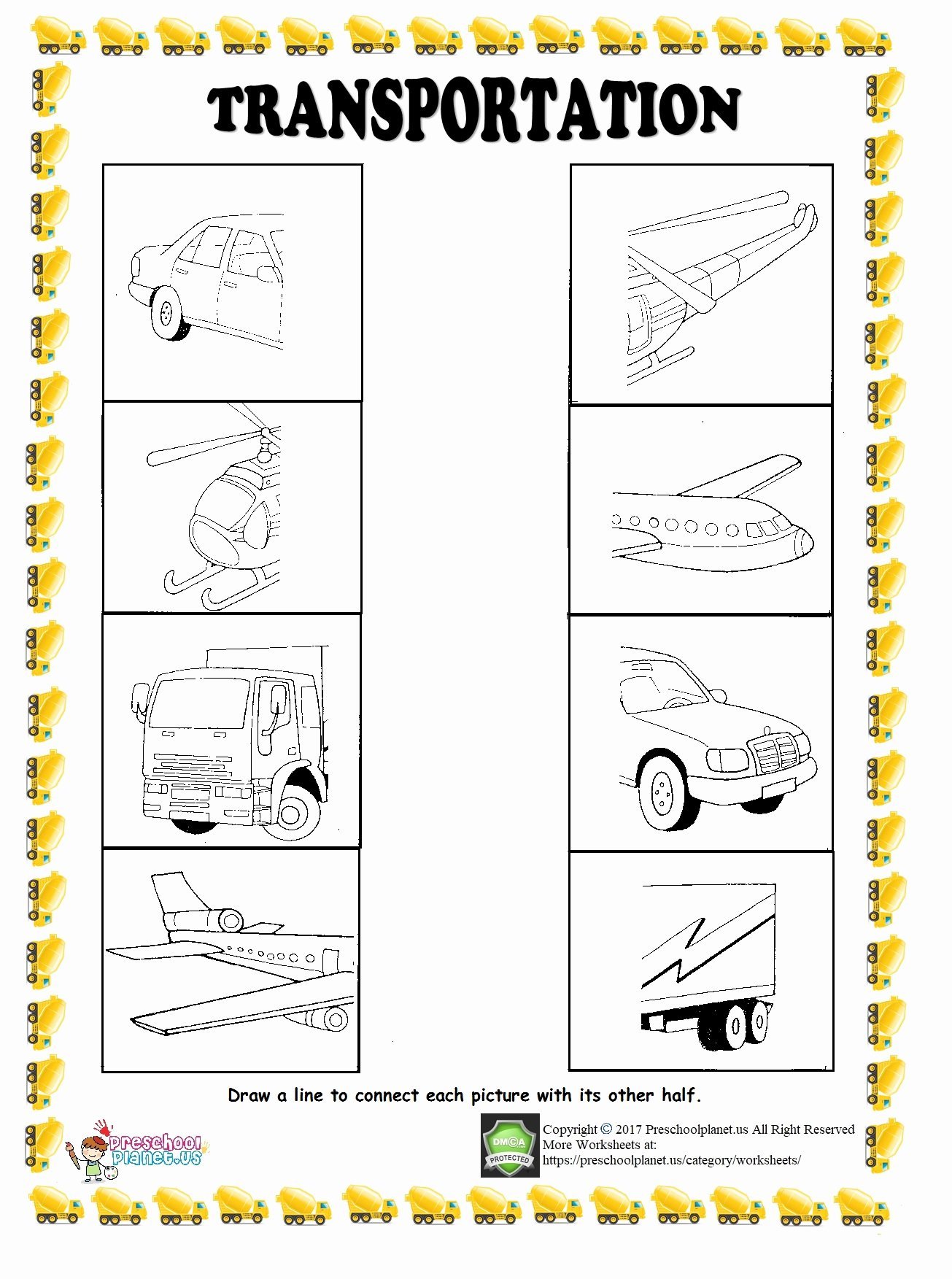 Transportation Worksheets for Preschoolers Beautiful Find Half Of Given Transportation Worksheet – Preschoolplanet
