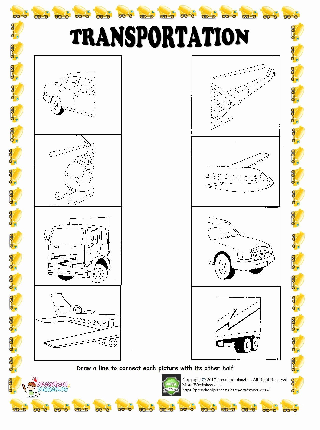 Transportation Worksheets for Preschoolers Beautiful Find Half Of Given Transportation Worksheet – Preschoolplanet