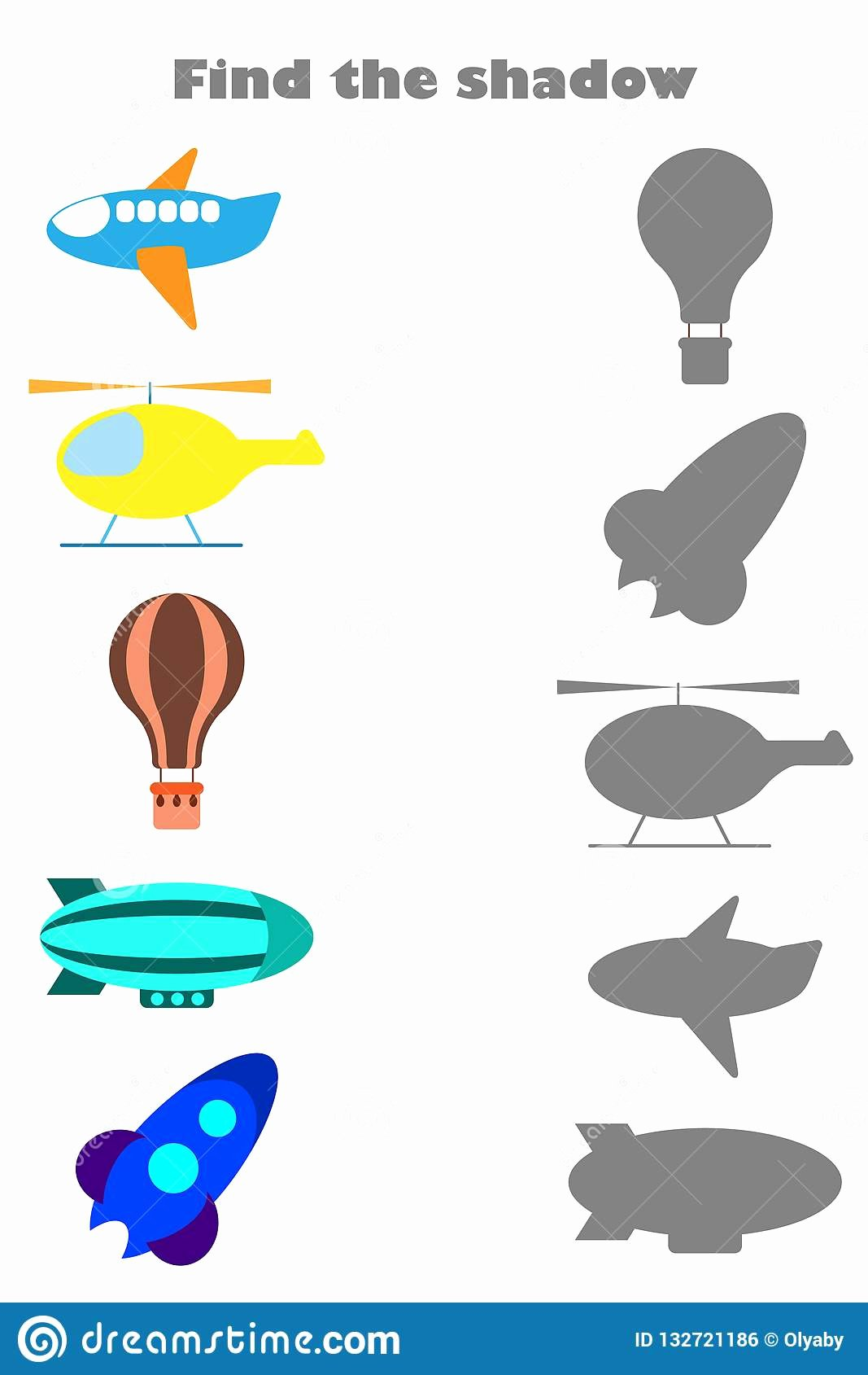 Transportation Worksheets for Preschoolers Beautiful Find the Shadow Game with Air Transport for