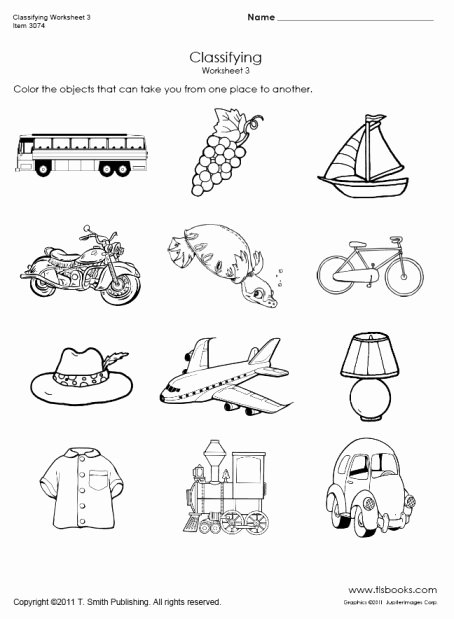 Transportation Worksheets for Preschoolers Beautiful Transportation Classifying Worksheet 3