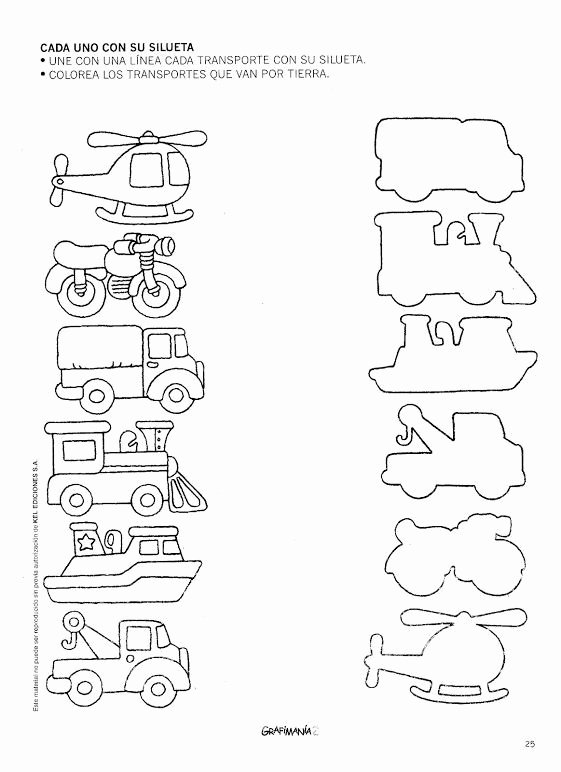 Transportation Worksheets for Preschoolers New Transportation Shadow Matching Worksheet 1