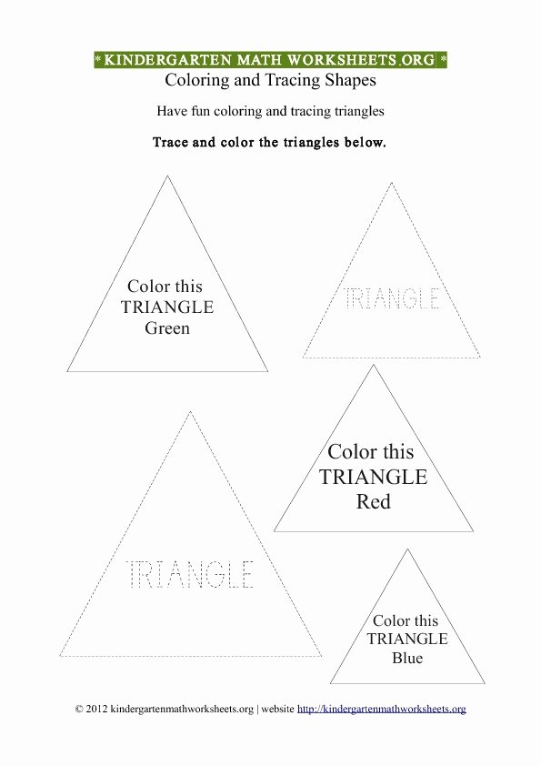 Triangle Printable Worksheets for Preschoolers Beautiful Kindergarten Coloring Worksheets Tag
