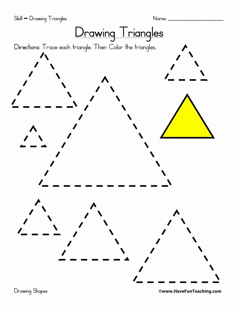 Triangle Printable Worksheets for Preschoolers Lovely Drawing Triangles Worksheet