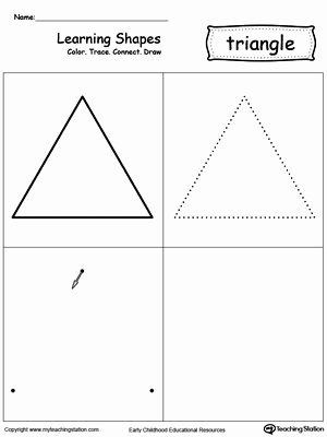 Triangle Printable Worksheets for Preschoolers Lovely Find Trace Color and Count the Shapes Triangle