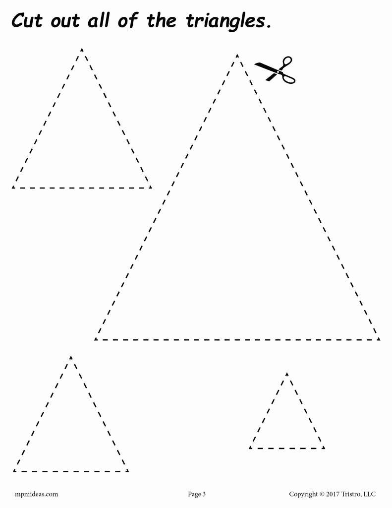 Triangle Printable Worksheets for Preschoolers Lovely Triangles Cutting Worksheet