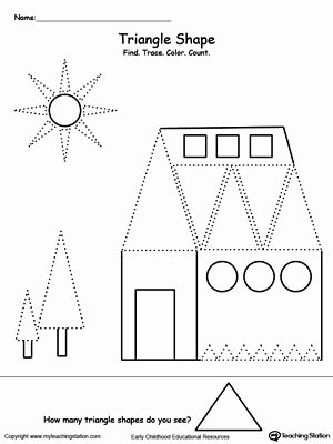 Triangle Printable Worksheets for Preschoolers New Find Trace Color and Count the Shapes Triangle