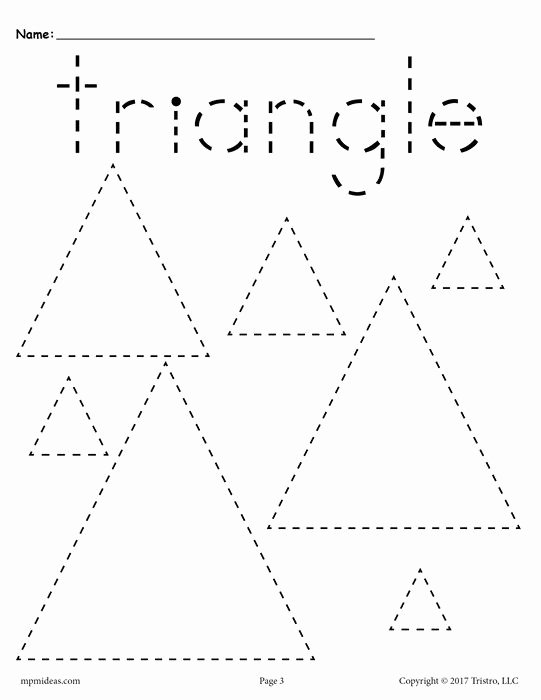Triangle Printable Worksheets for Preschoolers top 12 Shapes Tracing Worksheets