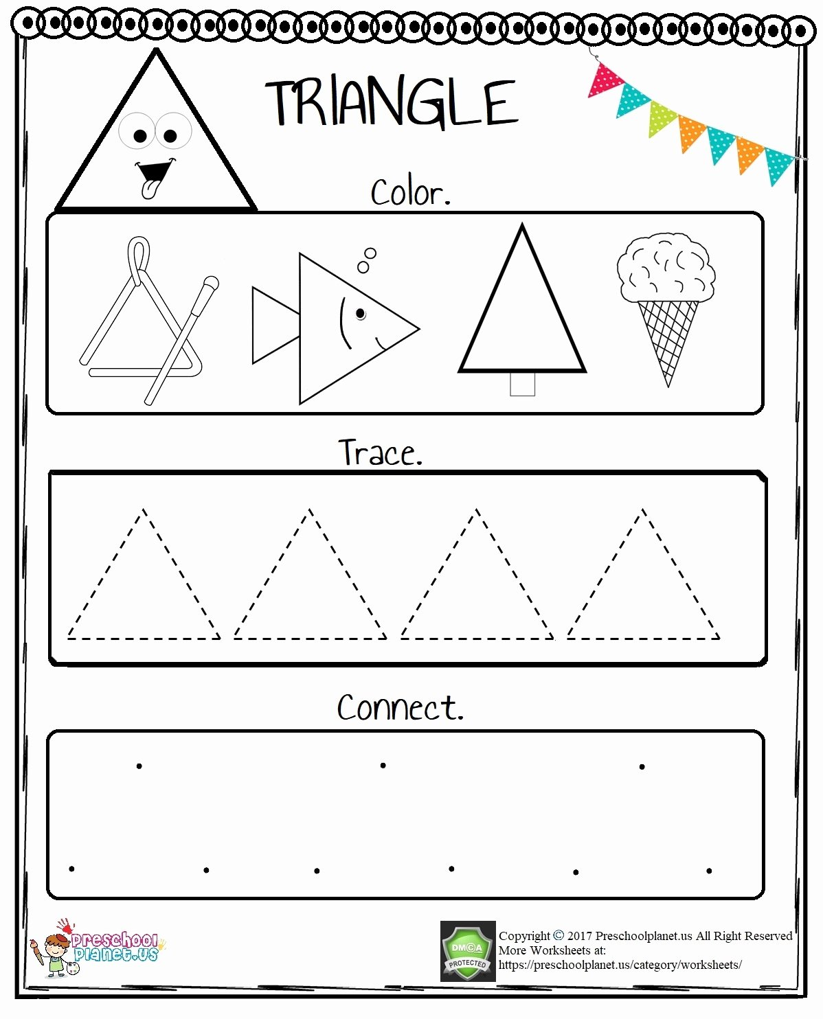 Triangle Printable Worksheets for Preschoolers top Triangle Worksheet for Preschool – Preschoolplanet