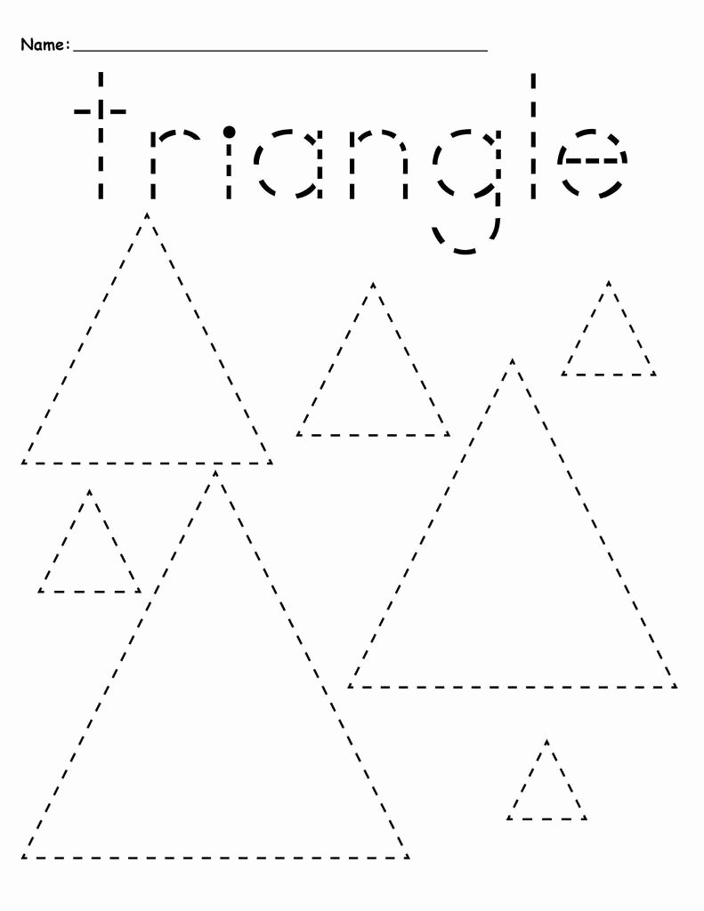 Triangle Worksheets for Preschoolers Awesome Worksheet Free Name Tracing Worksheets Remarkable