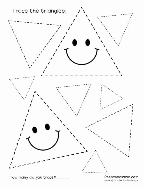 Triangle Worksheets for Preschoolers Inspirational Shape Tracing Worksheets Preschool Mom Triangle for