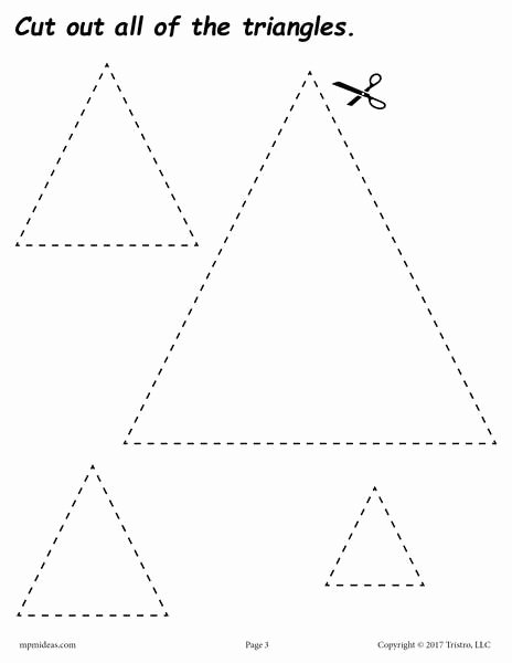 Triangle Worksheets for Preschoolers Inspirational Triangles Cutting Worksheet