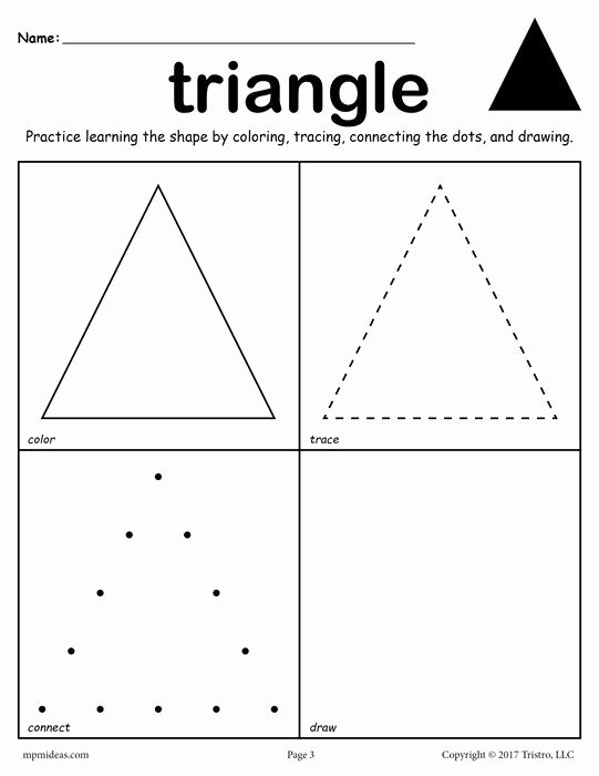Triangle Worksheets for Preschoolers Unique 12 Shapes Worksheets Color Trace Connect & Draw