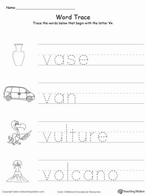 V Worksheets for Preschoolers Beautiful Trace Words that Begin with Letter sound V