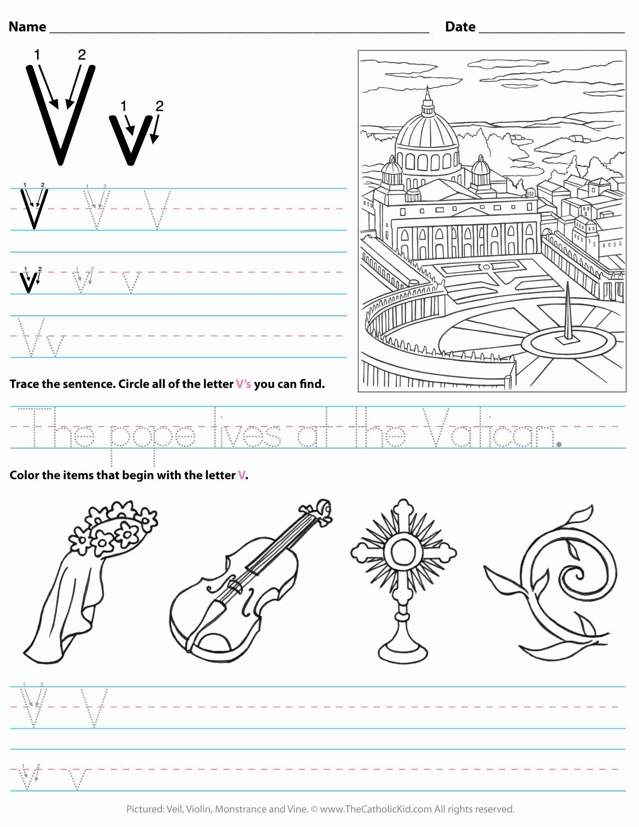 V Worksheets for Preschoolers Best Of Catholic Alphabet Letter V Worksheet Preschool Kindergarten