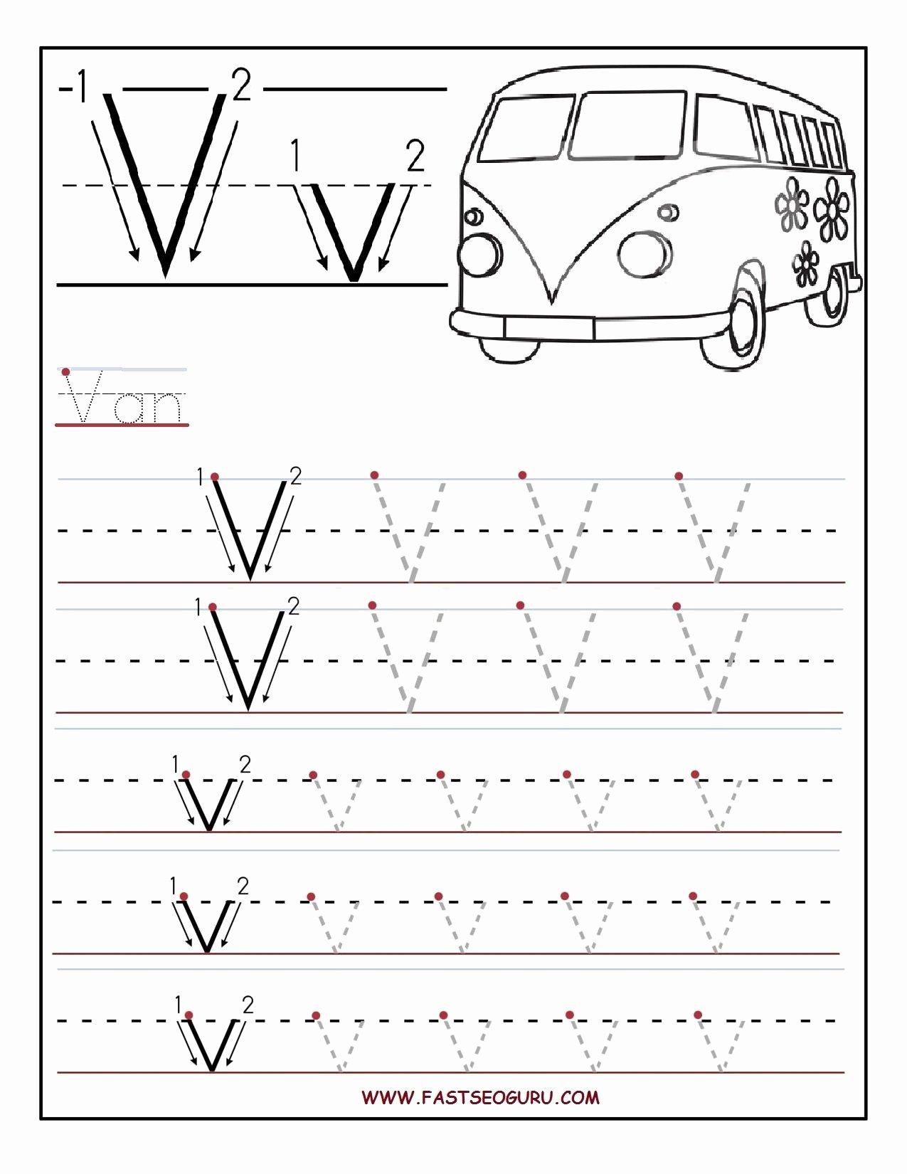 V Worksheets for Preschoolers Fresh Letter V Tracing Worksheet