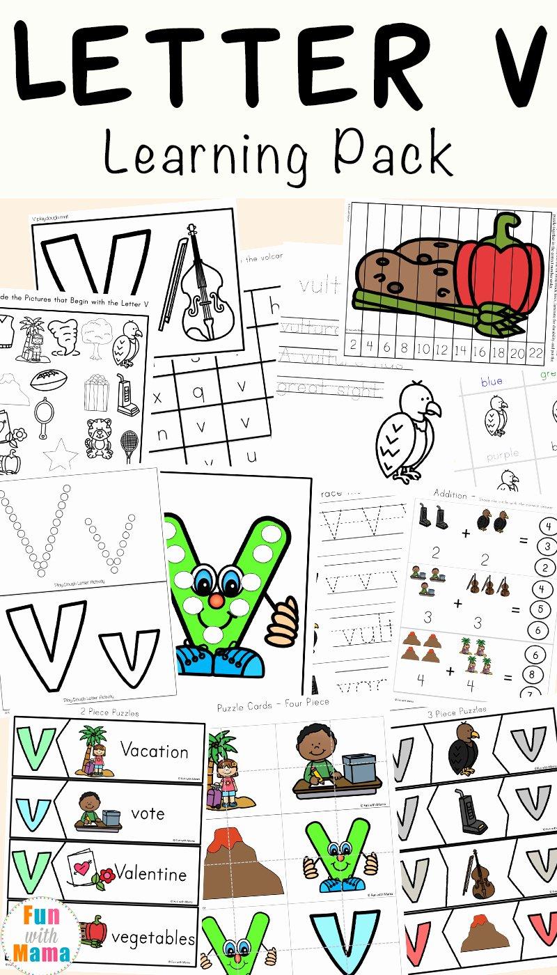 V Worksheets for Preschoolers New Letter V Worksheets for Preschool Kindergarten Fun with Mama