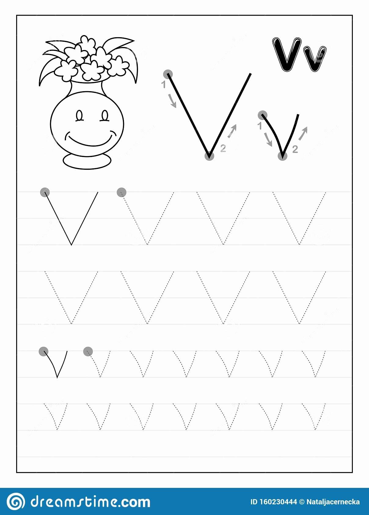 V Worksheets for Preschoolers New Tracing Alphabet Letter V Black and White Educational Pages