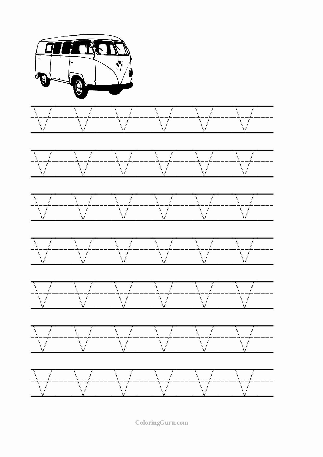 V Worksheets for Preschoolers top V Tracing Worksheet