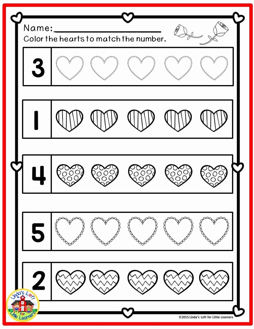 Valentine Day Math Worksheets for Preschoolers Awesome Valentine S Day Math Preschool Printables
