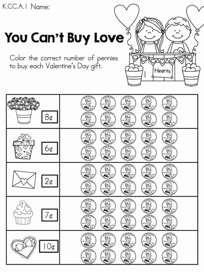 Valentine Day Math Worksheets for Preschoolers Fresh You Can T Buy Love Counting Pennies to Valentine S
