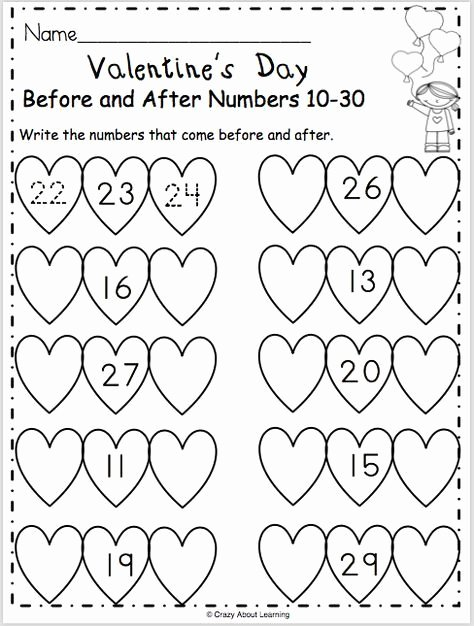 Valentine Day Math Worksheets for Preschoolers Unique Valentine S Day Math Worksheet for Numbers Madebyteachers