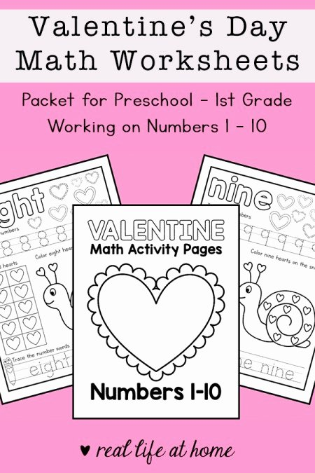 Valentine Day Math Worksheets for Preschoolers Unique Valentine S Day Math Worksheets for Preschool 1st Grade