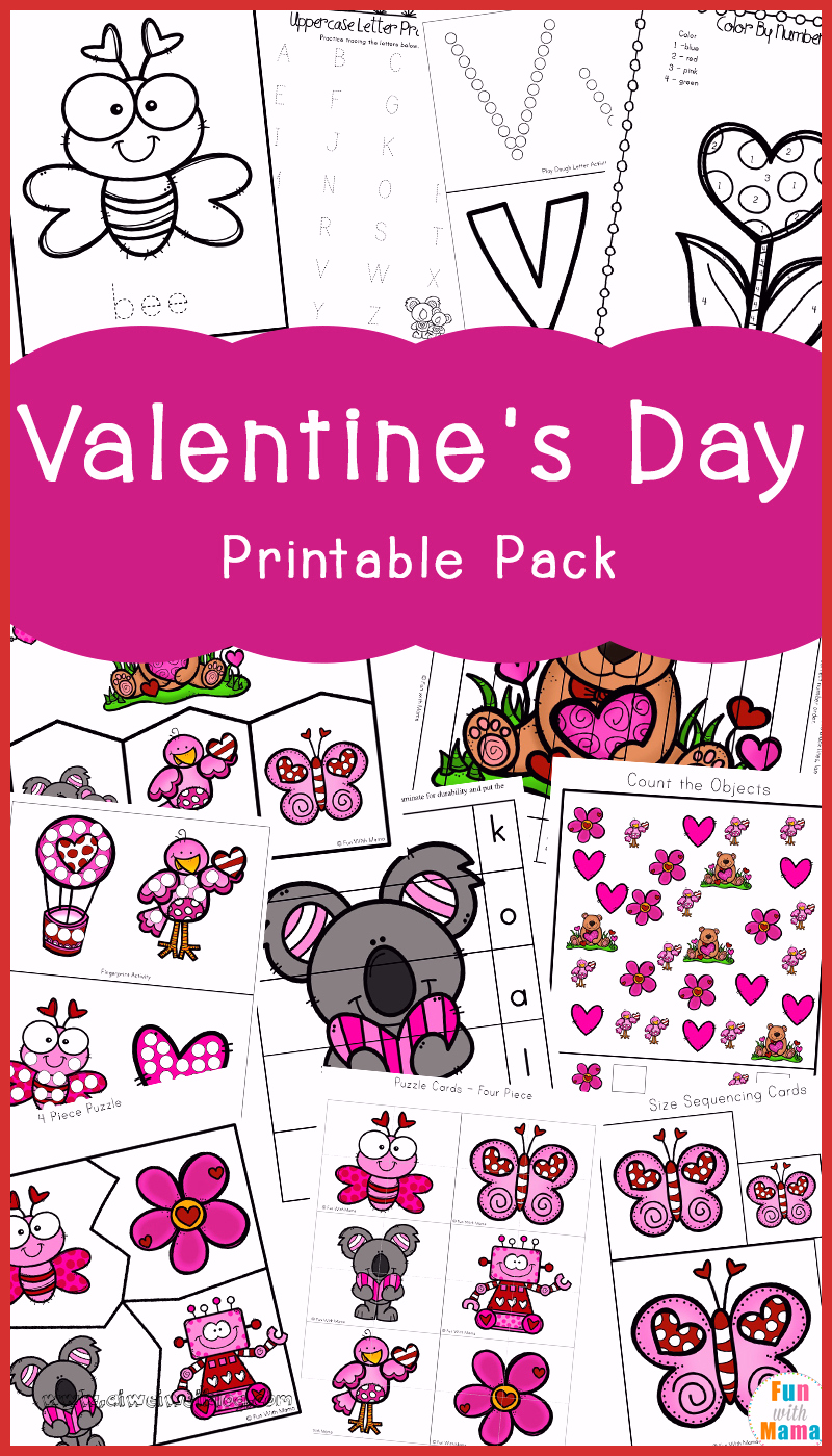 Valentine Day Worksheets for Preschoolers Fresh Valentine S Day Printables Pack Fun with Mama