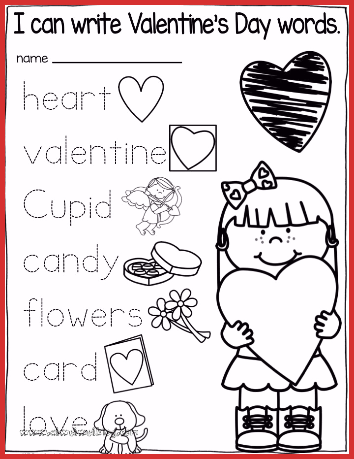 Valentine Day Worksheets for Preschoolers Inspirational Valentine S Day Kindergarten Writing Activities