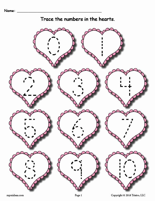 Valentine Worksheets for Preschoolers Best Of Printable Valentine Number Tracing Worksheets Supplyme
