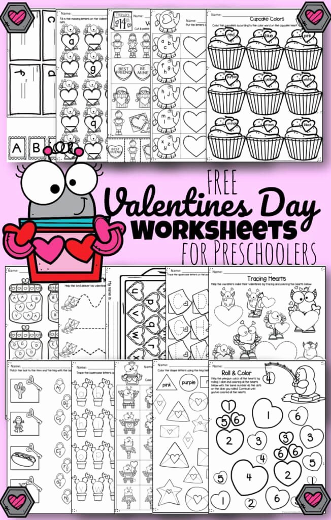Valentine Worksheets for Preschoolers Fresh tons Of Free Valentines Day Worksheets