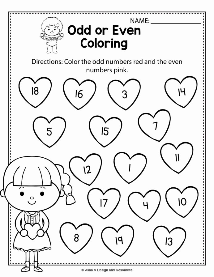 Valentine Worksheets for Preschoolers top Valentine Odd even Coloring Math Worksheets and