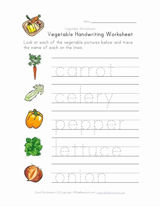 Vegetables Worksheets for Preschoolers Awesome Ve Able Writing Worksheet
