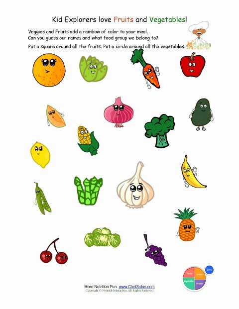 Vegetables Worksheets for Preschoolers Fresh Printable Identify the Fruits and Ve Ables Worksheet