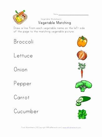 Vegetables Worksheets for Preschoolers Unique Ve Able Matching Worksheet