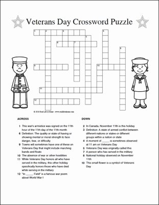 Veterans Day Worksheets for Preschoolers Awesome Veterans Day Crossword Puzzle Free Printable for Kids