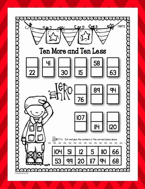 Veterans Day Worksheets for Preschoolers Fresh Freebie First Grade Veterans Ten More Less Math Free