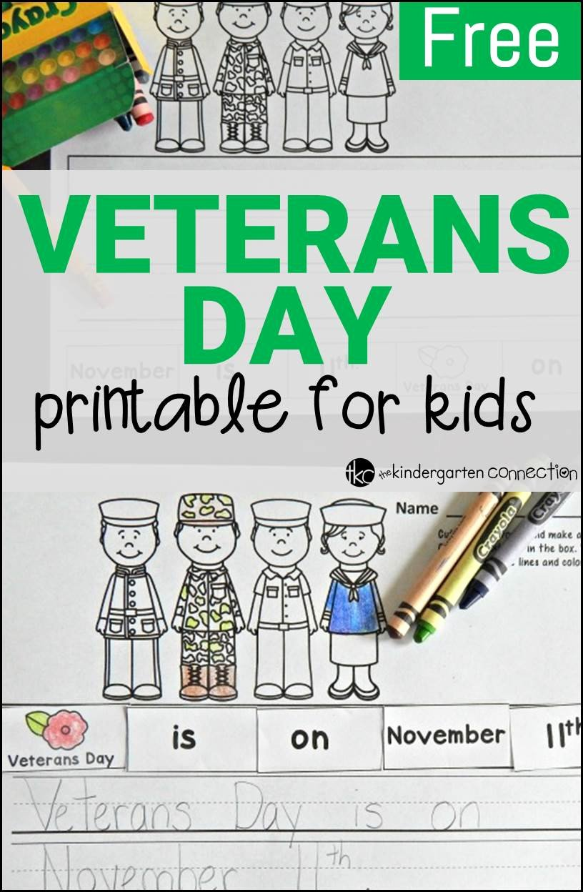 Veterans Day Worksheets for Preschoolers Unique Free Veterans Day Activity the Kindergarten Connection