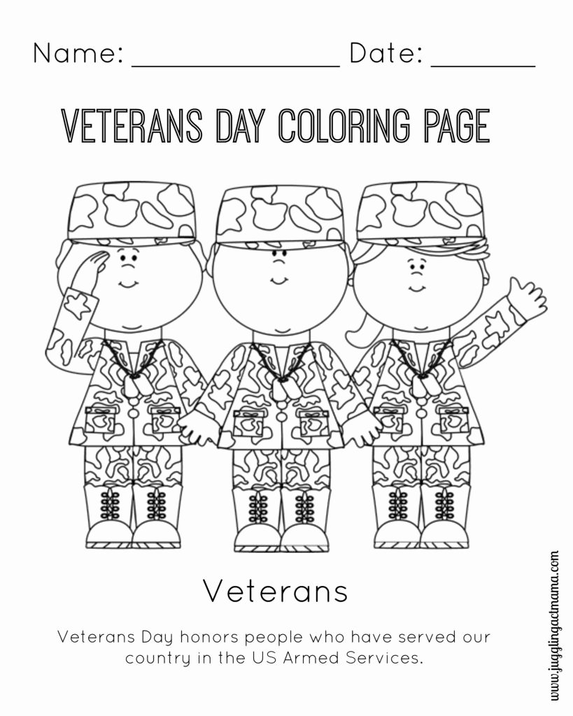 Veterans Day Worksheets for Preschoolers Unique Veteran S Day Printable Coloring Page Juggling Act Mama