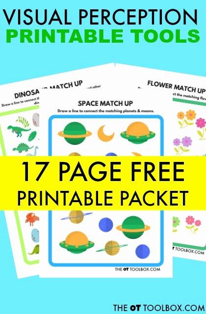 Visual Perception Worksheets for Preschoolers Inspirational Free Visual Perception Packet the Ot toolbox