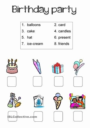 Vocabulary Worksheets for Preschoolers Best Of Birthday Party Simple Worksheet