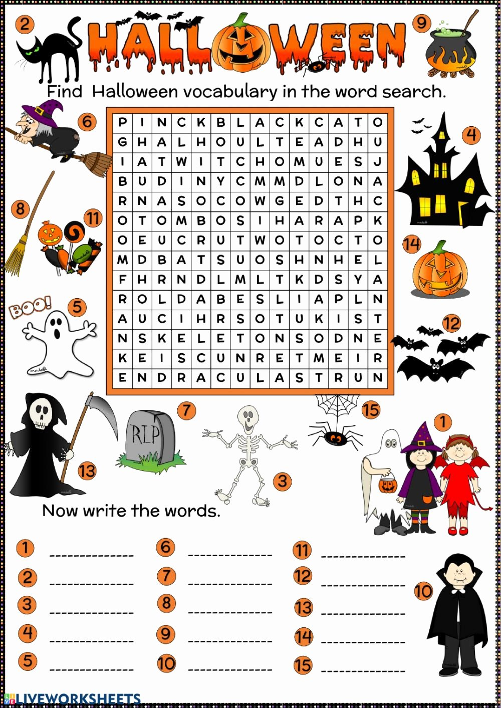 Vocabulary Worksheets for Preschoolers Inspirational Halloween Word Search Interactive Worksheet Esl Vocabulary