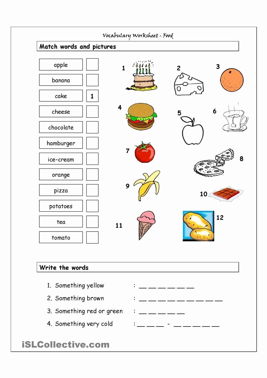 Vocabulary Worksheets for Preschoolers New Vocabulary Matching Worksheet Food