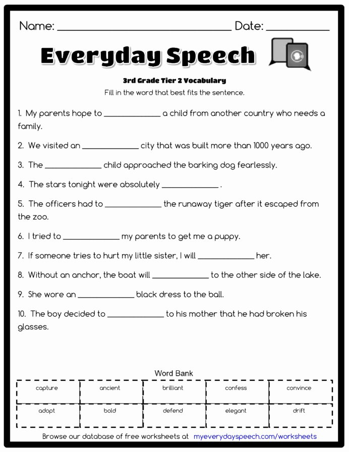 Vocabulary Worksheets for Preschoolers Unique 3rd Grade Vocabulary Worksheets for Free Preschool Worksheet