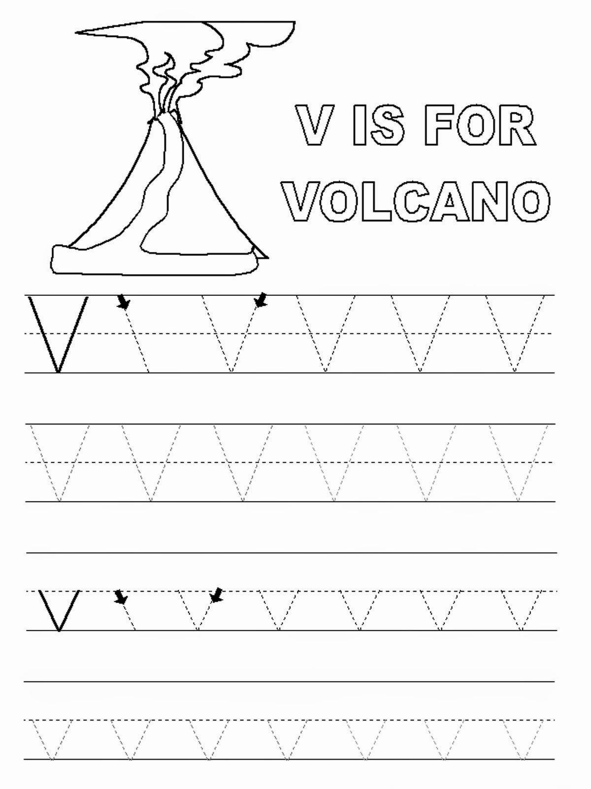 Volcano Worksheets for Preschoolers Awesome Letter V Worksheets to Print