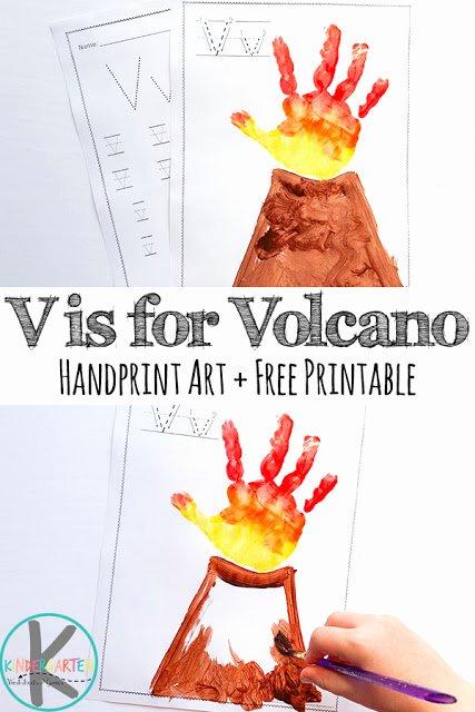 Volcano Worksheets for Preschoolers Fresh V is for Volcano Hand Art