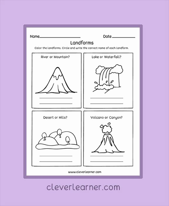 Volcano Worksheets for Preschoolers Inspirational Landforms Worksheets for Kids