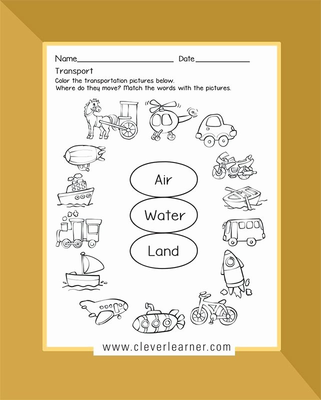 Water Worksheets for Preschoolers Inspirational Transport Activity Sheets Land Air Water Others