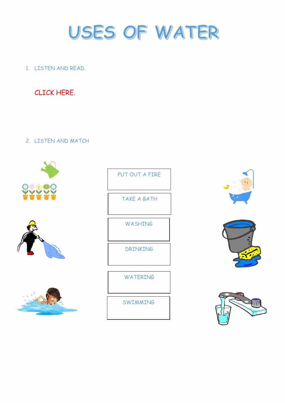 Water Worksheets for Preschoolers top Uses Of Water Interactive Worksheet