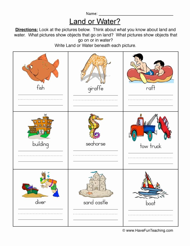 Water Worksheets for Preschoolers Unique Land and Water Worksheet